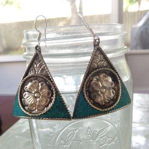 Tibetan turquoise stone stamped 925 earrings